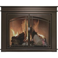 Pleasant Hearth Fenwick Fireplace Glass Door — Bronze, For 36in.-43in.W x 25.5in. to 32.5in.H Openings, Model# FN-5702