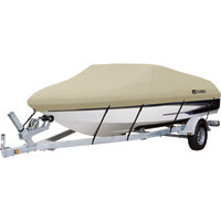 Classic Accessories DryGuardWaterproof Boat Cover — Tan, Fits 14ft.–16ft. x 75in.W Fishing Boats, Model# 20-083-082401-00