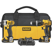 FREE SHIPPING — DEWALT 20 Volt Max Li-Ion 1/2in. Cordless Compact Hammerdrill & 1/4in. Impact Driver Combo Kit — With 2 Batteries, Model# DCK285C2