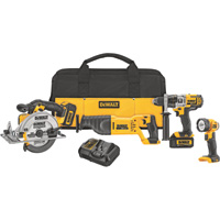 FREE SHIPPING — DEWALT 20 Volt Max Li-Ion Cordless Comob Kit — 4-Tool Set With 2 Batteries, Model# DCK491L2