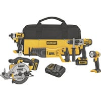 FREE SHIPPING — DEWALT 20 Volt Max Li-Ion Cordless Combo Kit — 5-Tool Set With 2 Batteries, Model# DCK590L2