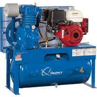 Quincy QP-7.5 Pressure Lubricated Reciprocating Air Compressor — 13 HP, Honda Gas Engine, 30-Gallon Horizontal, Model# G313H30HCE