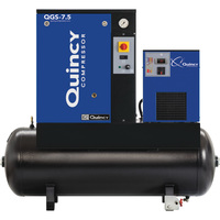 FREE SHIPPING — Quincy QGS Rotary Screw Compressor with Dryer — 7.5 HP, 230 Volt Single Phase, 60 Gallon, 21.2 CFM, Model# 4152002727