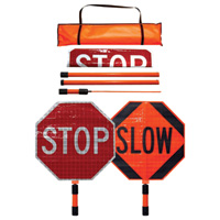 Dicke Roll-Up Stop/Slow Paddle — 24in. Superbright Reflective Sign, 5ft. ABS Handle, Plastic, Model# SB243-A