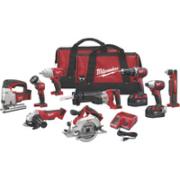 FREE SHIPPING — Milwaukee M18 Cordless Combo Kit — 9-Tool Set With 2 Batteries, Model# 2696-29