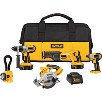 FREE SHIPPING — DEWALT 18V Cordless Combo Kit — 5-Tool Set With 2 Batteries, Model# DCK555X