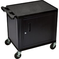 Luxor Utility Cart with Locking Steel Cabinet — 400-Lb. Capacity, 26in.H, Black, Model# LP26C-B