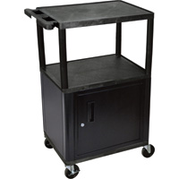 Luxor Utility Cart with Locking Steel Cabinet — 400-Lb. Capacity, 41in.H, Black, Model# LP42C-B
