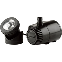 Pond Boss Low Water Shutoff Fountain Pump and Light — Fits 1/2in. Tubing, 140 GPH, 3ft.6in. Max. Lift, Model# PF185ASL