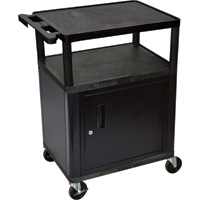 Luxor Utility Cart with Locking Steel Cabinet — 400-Lb. Capacity, 34in.H, Black/Gray, Model# LP34C-B