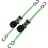 SmartStraps Ratchet X Lightweight Aluminum Tie-Downs with Retractable Ball — 14ft.L, 1,500-Lb. Capacity, 2-Pack, Green, Model# 337