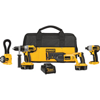 FREE SHIPPING — DEWALT 18V Cordless Combo Kit — 4-Tool Set With 2 Batteries, Model# DCK455X