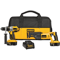 FREE SHIPPING — DEWALT 18V Cordless Hammerdrill/Driver & Reciprocating Saw Combo Kit — With 2 Batteries, Model# DCK251X