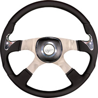 Steering Creations Inc. Highway Series Leather Grip Steering Wheel — 4-Spoke, 18in. Dia., Chrome Thumb Grips, Polished Aluminum, Universal Black/Chrome Pad