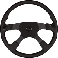 Grant Products Stealth Series Leather Grip Steering Wheel — 4-Spoke, 17 3/4in. Diameter, Anodized Aluminum