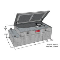 RDS Aluminum Transfer Water Plus Fuel Tank Toolbox Combo — 66-Gallon Fuel, 24-Gallon Water, Rectangular, Diamond Plate, Model# 73043