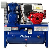 FREE SHIPPING — Quincy QT-7.5 Splash Lubricated Reciprocating Air Compressor — 13 HP, Honda Gas Engine, 30-Gallon Horizontal, Model# G213H30HCB