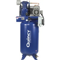 FREE SHIPPING — Quincy QT-7.5 Splash Lubricated Reciprocating Air Compressor with MAX Package — 7.5 HP, 230 Volt, 1 Phase, 80 Gallon Vertical, Model# 271C80VCBM