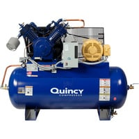 Quincy QT-15 Splash Lubricated Air Compressor with MAX Package — 15 HP, 230 Volt, 3 Phase, 120 Gallon Horizontal, Model# 2153DS12HCA23M
