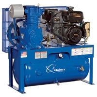 FREE SHIPPING — Quincy QT-7.5 Splash Lubricated Reciprocating Air Compressor — 14 HP, Kohler Gas Engine, 30-Gallon Horizontal, Model# G214K30HCD