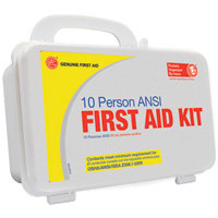 Genuine First Aid 10-Person ANSI/OSHA First Aid Kit — Plastic Case, Model# 9999-2125