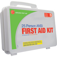 Genuine First Aid 25-Person ANSI OSHA Kit — Plastic Case, Model# 9999-2126