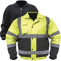 Utility Pro Men's Class 3 High Visibility 3-in-1 Bomber Jacket with Teflon Fabric Protector — Lime/Black, 3XL, Model# UHV563