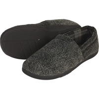 Men's Plush Fabric Slippers — Charcoal