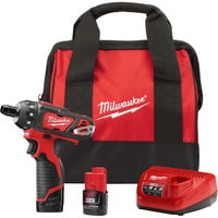 FREE SHIPPING — Milwaukee M12 Li-Ion Cordless 2-Speed Screwdriver Kit With 2 Batteries — 1/4in. Hex, 1500 RPM, Model# 2406-22