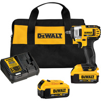 FREE SHIPPING — DEWALT 20V MAX XR Cordless Impact Wrench Kit with Hog Ring — 3/8in. Drive, 130 Ft.-Lbs. Torque, 2 Batteries, Model# DCF883M2