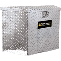 Northern Tool + Equipment Locking Trailer Tongue Tool Box — Tall Style, Diamond Plate Aluminum, 34in.