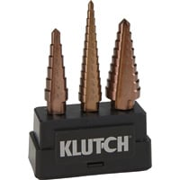 FREE SHIPPING — Klutch Cobalt Step Drill Bit Set — 3/16in. to 3/4in. Dia., 3-Pc. Set