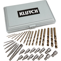 FREE SHIPPING — Klutch Screw Extractor and Drill Bit Set — 35-Pc.