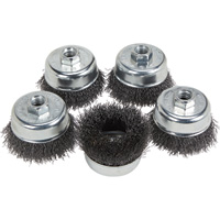 FREE SHIPPING — Klutch 3in. Crimped Wire Cup Brushes — 5-Pk.