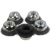FREE SHIPPING — Klutch 4in. Crimped Wire Cup Brushes — 5-Pk.