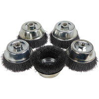 FREE SHIPPING — Klutch 5in. Crimped Wire Cup Brushes — 5-Pk.