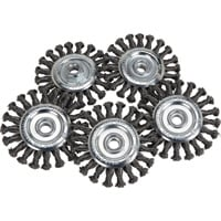 FREE SHIPPING — Klutch 4.5in. Twisted Knot Wire Wheels — 5-Pk.