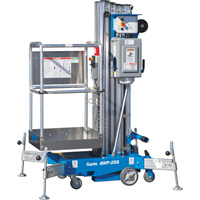 FREE SHIPPING — Genie Super Series AC Aerial Work Platform with Sliding Mid-Rail Entry — 24ft.11in. Lift, 350-Lb. Capacity, Model# AWP 25 AC STD