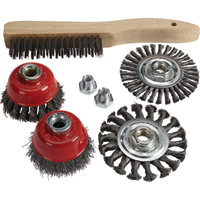 Klutch Wire Cup/Wire Wheel/Shoe Brush Kit — 7-Pc.