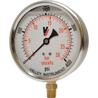 Valley Industries Grade A 4in. Stem Mount 67/33 Glycerin/Water Filled Gauge — 0–400 PSI, 40 Series