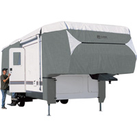Classic Accessories OverDrive PolyPro 3 Deluxe 5th Wheel Cover — Gray and White, Fits 20ft.L-23ft.L x 122in.H Trailers, Model# 75263