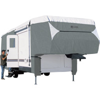 Classic Accessories OverDrive PolyPro 3 Deluxe 5th Wheel Cover — Gray and White, Fits 26ft.L-29ft.L x 122in.H Trailers, Model# 75463