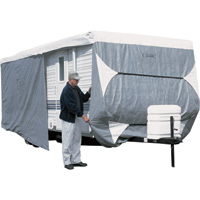 Classic Accessories OverDrive PolyPro 3 Deluxe Travel Trailer Cover — Model 2, Gray and White, Fits 20ft.L-22ft.L x 118in.H RVs