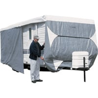 Classic Accessories OverDrive PolyPro 3 Deluxe Travel Trailer Cover — Model 3, Gray and White, Fits 22ft.L-24ft.L x 118in.H, Model# 73363