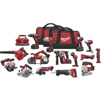 FREE SHIPPING — Milwaukee M18 Cordless Combo Kit — 15-Tool Set With 4 Batteries, Model#  2695-15