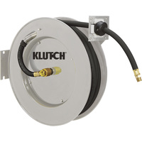 FREE SHIPPING — Klutch Heavy-Duty Auto Rewind Air Hose Reel — With 1/2in. x 50ft. Rubber Hose, Max. 300 PSI