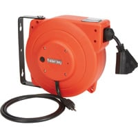 Ironton Retractable Cord Reel — 40ft., 12/3, Triple Tap