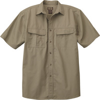 Gravel Gear Men's Cotton Ripstop Short Sleeve Work Shirt with Teflon Fabric Protector