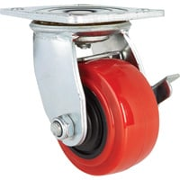 Ironton Standard-Duty 4in. Swivel Polyurethane Caster with Brake — 550-Lb. Capacity, Red