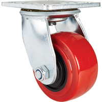 Ironton Standard-Duty 4in. Swivel Polyurethane Caster — 550-Lb. Capacity, Red